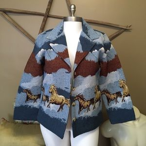 back in the saddle horse tapestry jacket